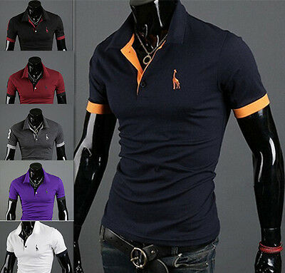 T-shirt Fashion Mens POLO Shirt Short Sleeve Tops Tee Slim Fit Casual Style New