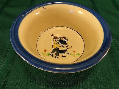 Vintage 1936 Child's Pottery Cereal Bowl with Boy & Girl Gardeners & Tulips