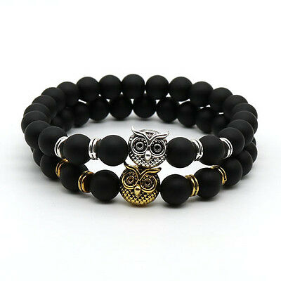 Fashion Vintage Natural Stone Jewelry Skull Owl Head Bracelet With Black Beads
