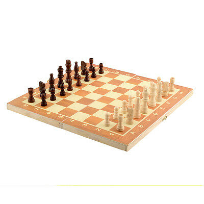 Quality Wooden Chess Set Board Game 34cm x 34cm Foldable Portable Kids Fun