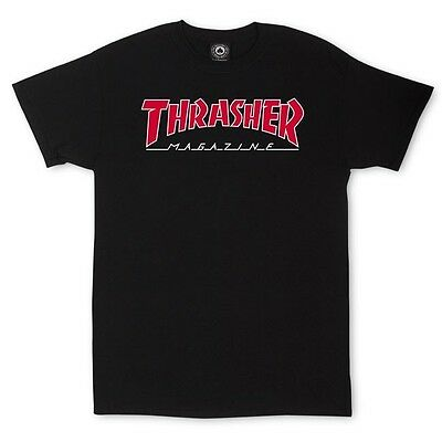 Thrasher Magazine - T Shirt Black Red Outlined  - S M L Xl -  New Real Skate Tee