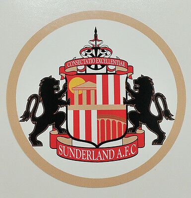 3 x Sunderland Association Football Club vinyl stickers. Size 70x70 mm