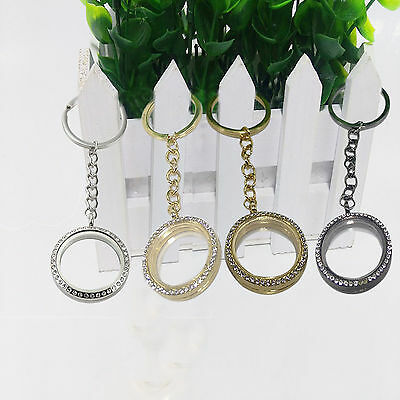 Crystal Living Memory Floating Glass Charm Locket Keyring Keychain Chain Pendant