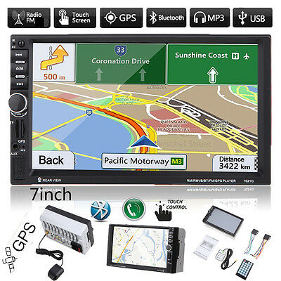 "GPS Navi 7"" Touchscreen Double 2DIN Car Bluetooth MP3 Player USB/SD/TF/FM AUX-In"