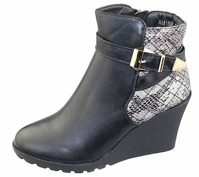 Womens Wedge Heel Ankle Boots Ladies Chelsea Buckle High Top Casual Riding Shoes