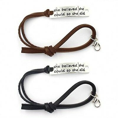 """New Inspirational Leather Bracelet  """"She Believed She Could So She Did"""" Jewelry"""