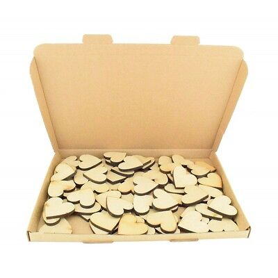 Bargain Box of 100 Laser cut Wooden MDF Love Heart Craft Shapes - 6mm (Pack 1)