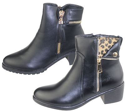 Womens Low Heel Ankle Boots Ladies Chelsea High Top Casual Riding Zip Shoes