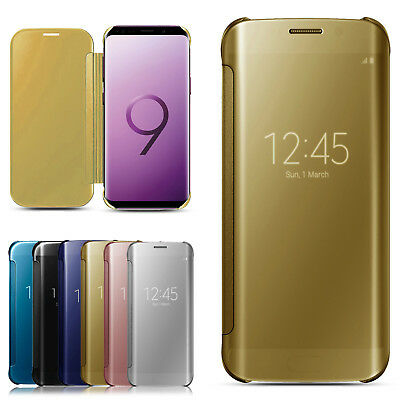 Case for Samsung Galaxy S9 S8 Plus S7 S6 Edge Smart View Mirror Flip Stand Cover