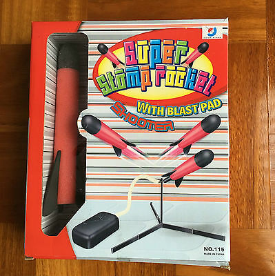 Super Stomp Rocket Kit With Blast Pad Shooter High Performance Inc 3 Rockets Toy