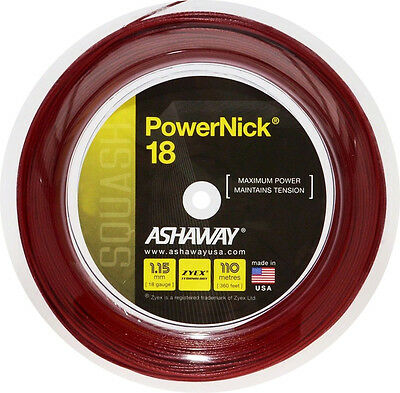 ASHAWAY POWERNICK 18 RED SQUASH RACKET STRING - 110m REEL