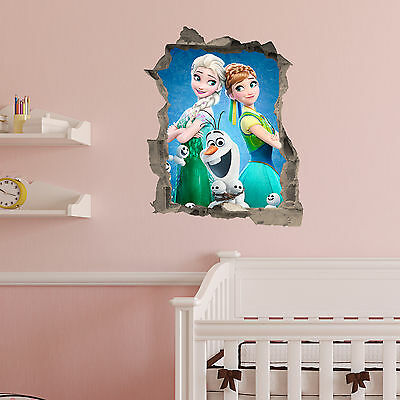 Frozen wall Crack Elsa Olaf Anna Kids Bedroom Vinyl Decal Wall Sticker Gift