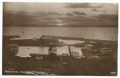 "POSTCARD-SCOTLAND-BURNTISLAND-RP. The Docks - ""Departing Day""."