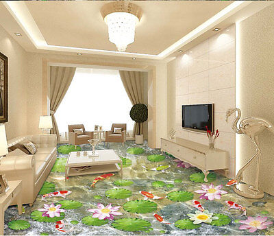 Water Lily Lotus Color Fish lilypad  Floor Decals 3D Wallpaper Wall Mural S