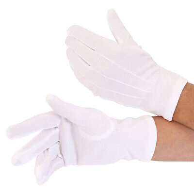 Pair Of White Gloves Kids Magician Mime Waiter Fancy Dress Gloves Unisex