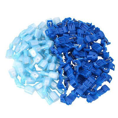 100Pcs T-Tap/Male 2.5-4.0mm2 Quick Wire Terminal Connectors 16-14AWG Blue