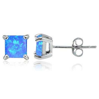 Sterling Silver 1.20Ct. Emerald Square Stud Earrings, 5MM