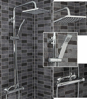 Bathroom Shower Mixer Exposed Thermostatic Valve Chrome Bath Twin Head Set
