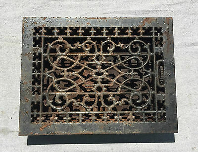 Antique Cast Iron Heat Grate Vent Register Old Vtg Decorative 10x14 1356-16