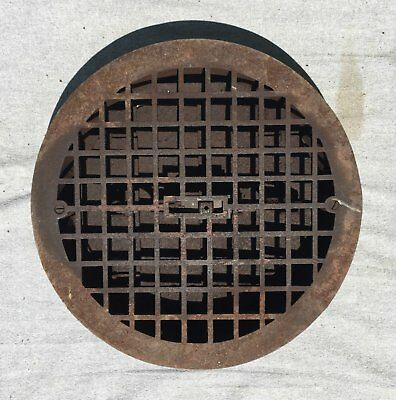 "Antique Cast Iron Round Floor Heat Grate Register Old Geometric Vtg 12"" 1357-16"
