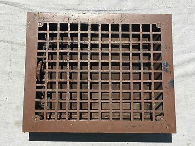 Antique Cast Iron Floor Heat Register Ceiling Vent Old Hardware 12x15 1358-16