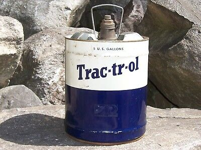 Vintage 5 Gallon Tractor Trac-tr-ol Oil Can Farm Ford