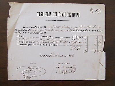 1886 - Chile - Old Certificate Of Payment - Tesoreria Del Canal De Maipo