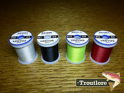 4 x SPOOLS 8/0 VEEVUS THREAD #1 - NEW FLY TYING SUPPLIES & MATERIALS