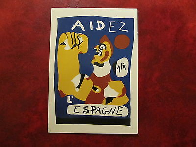 Chile - Old Postcard - Poster Of Miro In Solidarity With The Spanish Republic