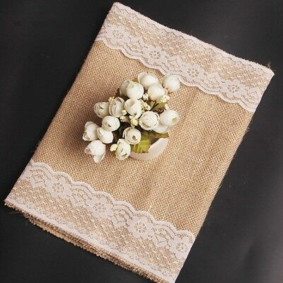 New Jute Table Runner Vintage Style Lace Cloth Wedding Party Banquet Decoration