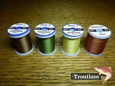 4 x SPOOLS 8/0 VEEVUS THREAD #2 - NEW FLY TYING SUPPLIES & MATERIALS