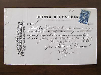 1884 - Chile - Old Certificate Of Payment - Quinta Del Carmen