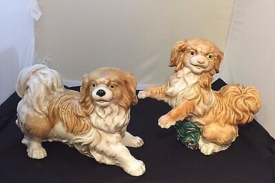 PAIR of Large Traditional Brown/Tan Dog Statues - Staffordshire Style Dogs