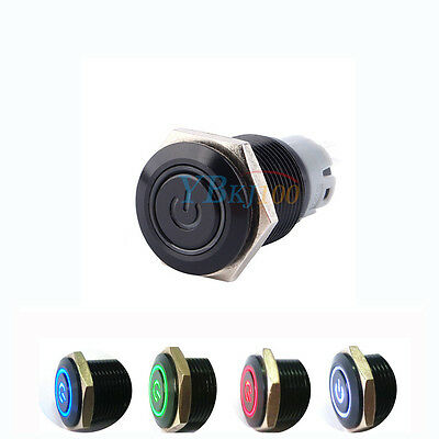 Car 16mm Metal Switch Blue/White/Red/Green LED Push Button Latching Momentary