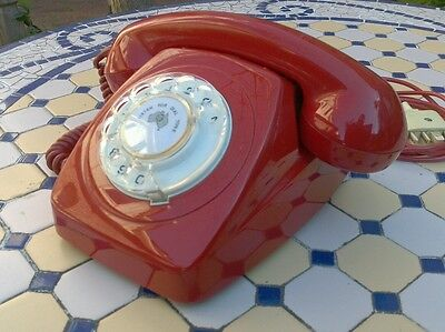 70's Vintage Laquer Red 802 Rotary Dial Telephone Phone STC Colorfon Refurbished