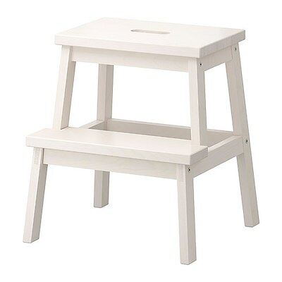 IKEA BEKVAM Natural Solid Aspen Wood Wooden Step Stool Ladder Chair in White