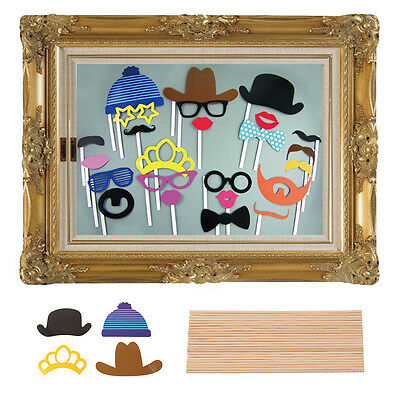 Photo Booth Large Picture Frame & 24 Photo Props Wedding Funny Faces Party Fun