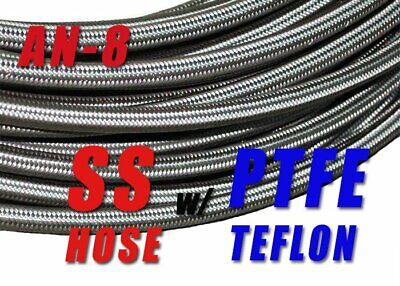 10FT AN8 Stainless Steel Braided PTFE Teflon Fuel Oil Gas Line Hose -8AN