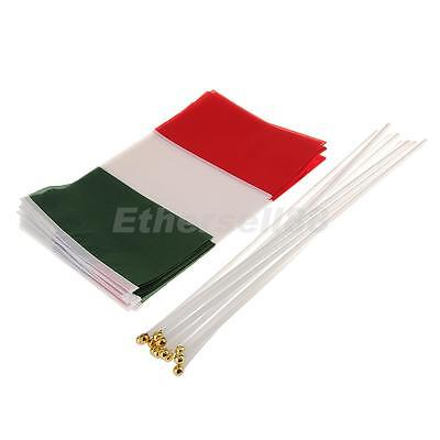 12x Italian Flag Italy National Flags Hand Waving Banners With Plastic Poles