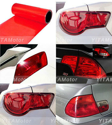 "Glossy Red Vinyl Wrap Overlay Film For Tail Lamps Lights Sidemarkers -16"" x 48"""