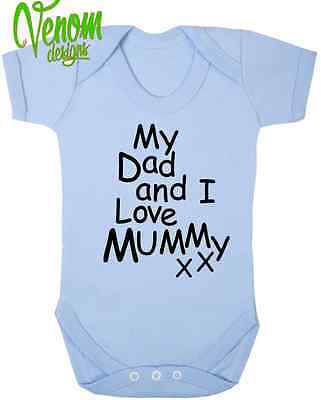 My Dad & I Love Mummy BABY BODYSUIT GROW VEST Birthday Christmas Mum Gift funny