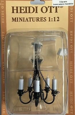 5 Up-arm Brass Palace Chandelier Heidi Ott, Dolls House Miniature, Lights