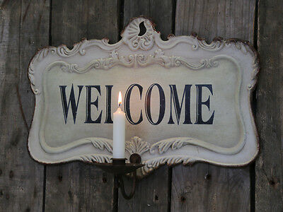 Cream Metal Wall Hanging Welcome Plaque Sign Shabby Chic Vintage Style Candle