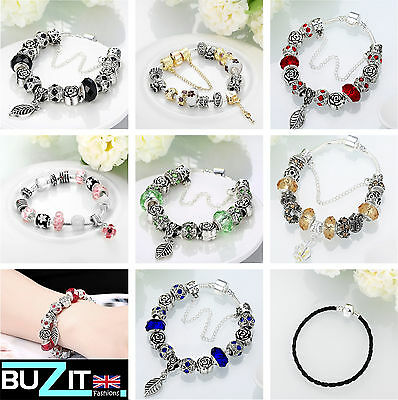 Ladies 925 Sterling Silver Plated Charm Bracelet / Crystal Zircon Beads Charms