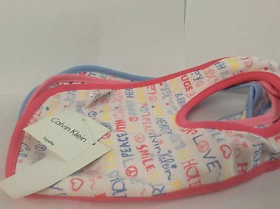 Calvin Klein Set of 3 Hearts & Hugs Bibs New Born One Size
