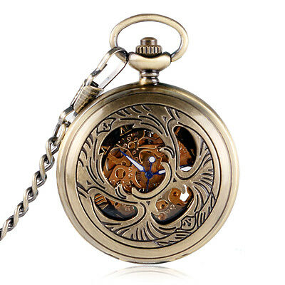 Vintage Steampunk Brass Carved Skeleton Mechanical Pocket Watch Hand-winding New