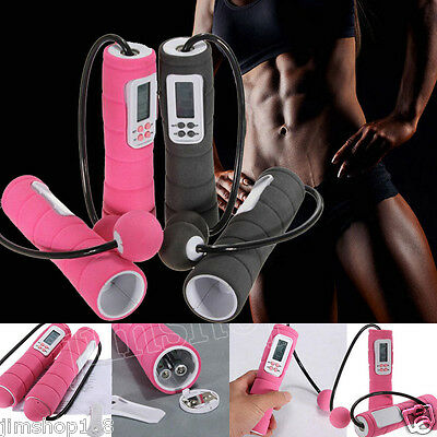 Exercise Digital Cordless Skipping Rope Wireless Calorie Burner Jump Counter LOT