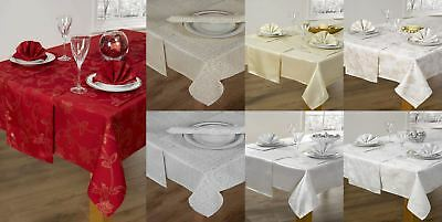 "14 PIECE CHRISTMAS TABLE CLOTH LINEN SET NAPKINS RUNNER PLACEMATS 52"" x 72""/90"""