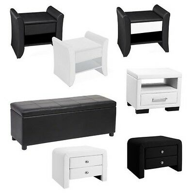 Bed stool Ottoman Night table Sitting Seat chest Black White imitation leather