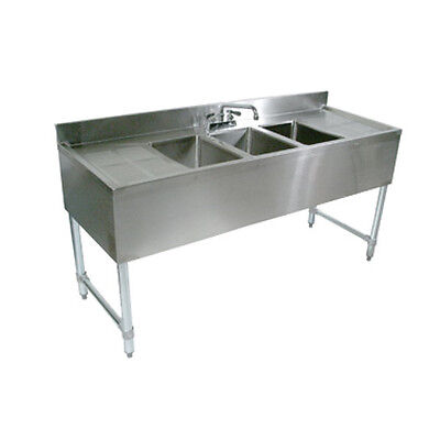 "John Boos EUB2S48-1LD Underbar Two Compartment Sink w/ 24"" Left Drainboard"